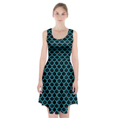 Scales1 Black Marble & Turquoise Colored Pencil (r) Racerback Midi Dress