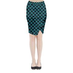 Scales1 Black Marble & Turquoise Colored Pencil (r) Midi Wrap Pencil Skirt