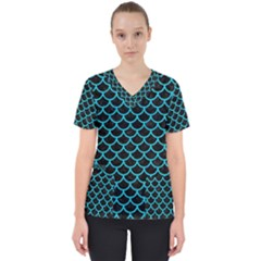 Scales1 Black Marble & Turquoise Colored Pencil (r) Scrub Top