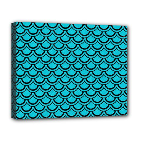 Scales2 Black Marble & Turquoise Colored Pencil Deluxe Canvas 20  X 16
