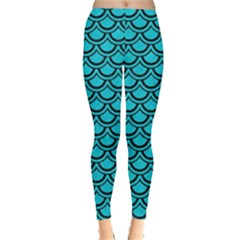 Scales2 Black Marble & Turquoise Colored Pencil Leggings