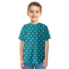 Scales2 Black Marble & Turquoise Colored Pencil Kids  Sport Mesh Tee