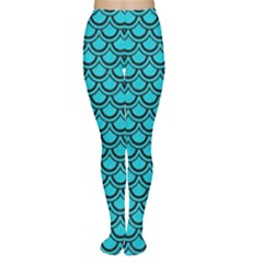 Scales2 Black Marble & Turquoise Colored Pencil Women s Tights