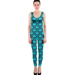 Scales2 Black Marble & Turquoise Colored Pencil Onepiece Catsuit