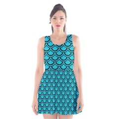 Scales2 Black Marble & Turquoise Colored Pencil Scoop Neck Skater Dress
