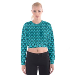 Scales2 Black Marble & Turquoise Colored Pencil Cropped Sweatshirt