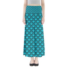 Scales2 Black Marble & Turquoise Colored Pencil Full Length Maxi Skirt