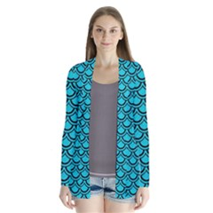 Scales2 Black Marble & Turquoise Colored Pencil Drape Collar Cardigan