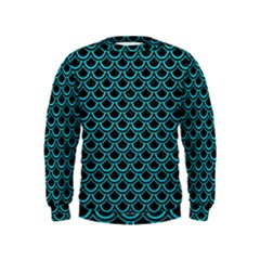 Scales2 Black Marble & Turquoise Colored Pencil (r) Kids  Sweatshirt