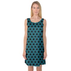 Scales2 Black Marble & Turquoise Colored Pencil (r) Sleeveless Satin Nightdress