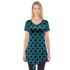 Scales2 Black Marble & Turquoise Colored Pencil (r) Short Sleeve Tunic