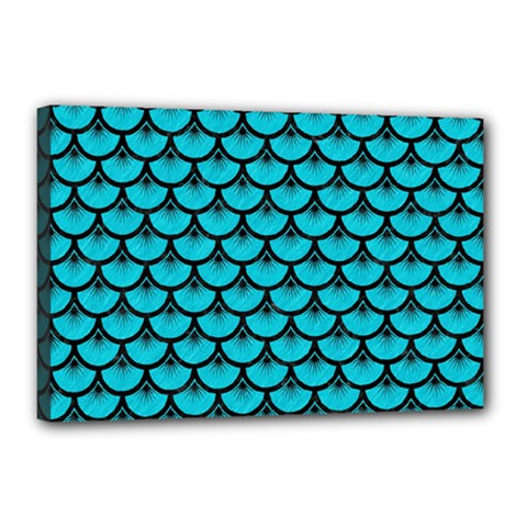 Scales3 Black Marble & Turquoise Colored Pencil Canvas 18  X 12
