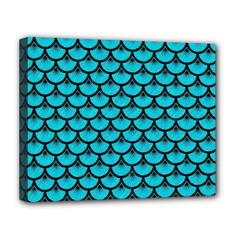 Scales3 Black Marble & Turquoise Colored Pencil Deluxe Canvas 20  X 16