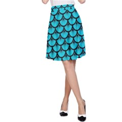 Scales3 Black Marble & Turquoise Colored Pencil A Line Skirt