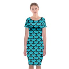 Scales3 Black Marble & Turquoise Colored Pencil Classic Short Sleeve Midi Dress