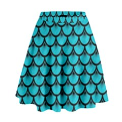 Scales3 Black Marble & Turquoise Colored Pencil High Waist Skirt