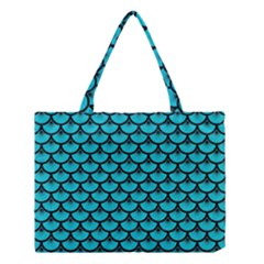 Scales3 Black Marble & Turquoise Colored Pencil Medium Tote Bag