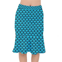 Scales3 Black Marble & Turquoise Colored Pencil Mermaid Skirt