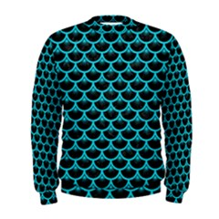 Scales3 Black Marble & Turquoise Colored Pencil (r) Men s Sweatshirt