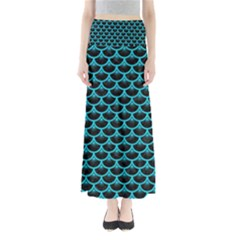 Scales3 Black Marble & Turquoise Colored Pencil (r) Full Length Maxi Skirt