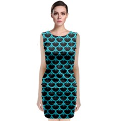 Scales3 Black Marble & Turquoise Colored Pencil (r) Classic Sleeveless Midi Dress
