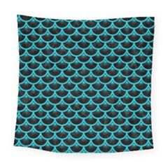 Scales3 Black Marble & Turquoise Colored Pencil (r) Square Tapestry (large)
