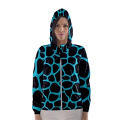 Skin1 Black Marble & Turquoise Colored Pencil Hooded Wind Breaker (women)