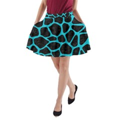 Skin1 Black Marble & Turquoise Colored Pencil A Line Pocket Skirt