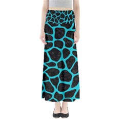 Skin1 Black Marble & Turquoise Colored Pencil Full Length Maxi Skirt