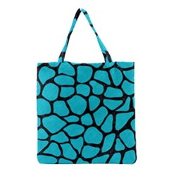 Skin1 Black Marble & Turquoise Colored Pencil (r) Grocery Tote Bag