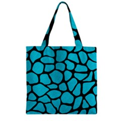 Skin1 Black Marble & Turquoise Colored Pencil (r) Zipper Grocery Tote Bag