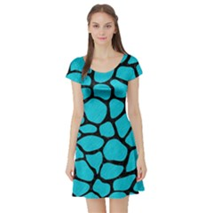 Skin1 Black Marble & Turquoise Colored Pencil (r) Short Sleeve Skater Dress