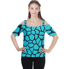 Skin1 Black Marble & Turquoise Colored Pencil (r) Cutout Shoulder Tee