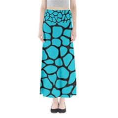Skin1 Black Marble & Turquoise Colored Pencil (r) Full Length Maxi Skirt