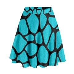 Skin1 Black Marble & Turquoise Colored Pencil (r) High Waist Skirt