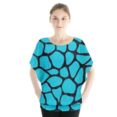 Skin1 Black Marble & Turquoise Colored Pencil (r) Blouse