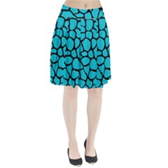 Skin1 Black Marble & Turquoise Colored Pencil (r) Pleated Skirt