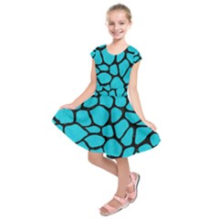 Skin1 Black Marble & Turquoise Colored Pencil (r) Kids  Short Sleeve Dress