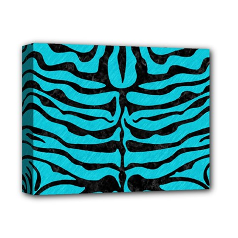 Skin2 Black Marble & Turquoise Colored Pencil Deluxe Canvas 14  X 11