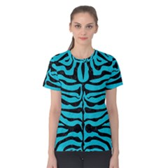 Skin2 Black Marble & Turquoise Colored Pencil Women s Cotton Tee