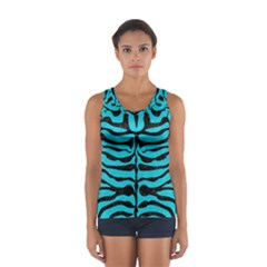 Skin2 Black Marble & Turquoise Colored Pencil Sport Tank Top
