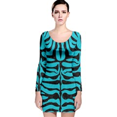 Skin2 Black Marble & Turquoise Colored Pencil Long Sleeve Velvet Bodycon Dress