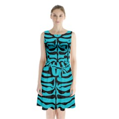 Skin2 Black Marble & Turquoise Colored Pencil Sleeveless Waist Tie Chiffon Dress