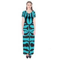 Skin2 Black Marble & Turquoise Colored Pencil Short Sleeve Maxi Dress