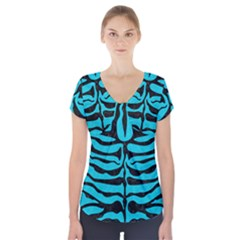 Skin2 Black Marble & Turquoise Colored Pencil Short Sleeve Front Detail Top