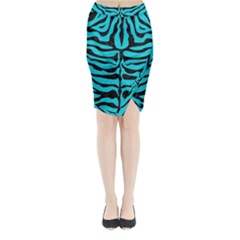 Skin2 Black Marble & Turquoise Colored Pencil Midi Wrap Pencil Skirt