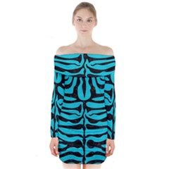 Skin2 Black Marble & Turquoise Colored Pencil Long Sleeve Off Shoulder Dress