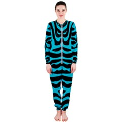 Skin2 Black Marble & Turquoise Colored Pencil (r) Onepiece Jumpsuit (ladies)