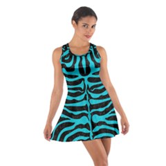 Skin2 Black Marble & Turquoise Colored Pencil (r) Cotton Racerback Dress