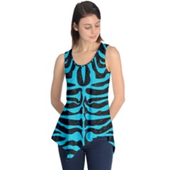 Skin2 Black Marble & Turquoise Colored Pencil (r) Sleeveless Tunic